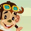Khỉ con lái máy bay