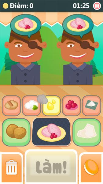 Màn hình chơi game Đầu bếp Coky
