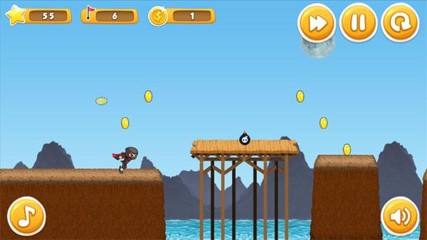 Màn hình chơi game Ninja vượt biển