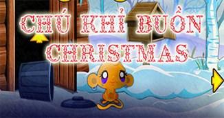 Chú khỉ buồn đón Giáng sinh