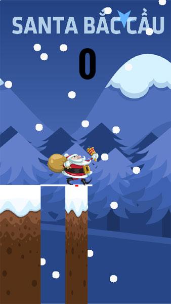 Màn hình chơi game Santa bắc cầu