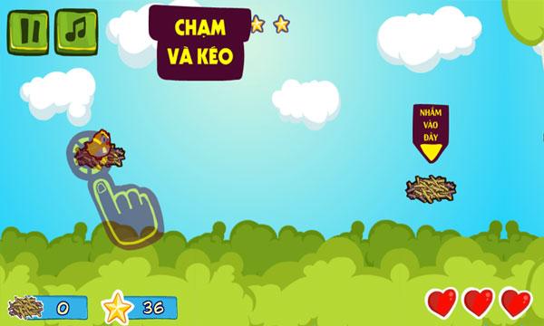 Màn hình chơi game Chim non học bay