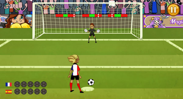 Màn hình chơi game Penalty bóng đá nữ