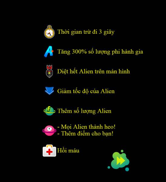Phần thưởng trong Đánh bại Alien