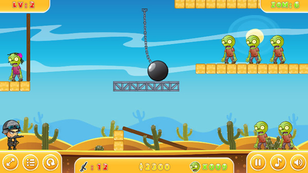 Chơi game Đạn nhảy diệt Zombie 2