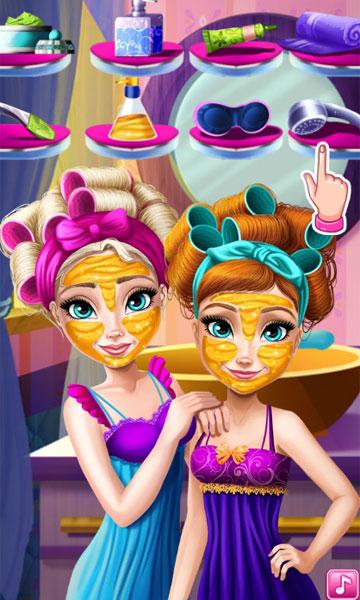 Làm sạch khuôn mặt trong Elsa và Anna trang điểm