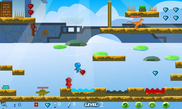 Chơi game Thế giới khủng long cùng Chú bé lửa và Cô gái nước trên GameVui
