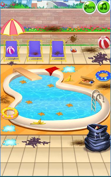 Công chúa dọn bể bơi