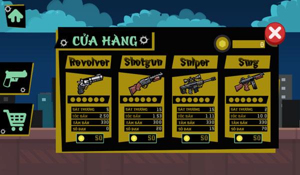 Shop mua súng trong game Người que cướp nhà băng