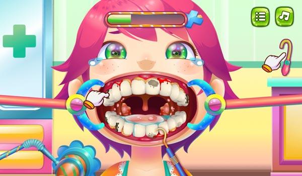 Làm theo chỉ dẫn của nha sĩ GameVui để chữa sâu răng
