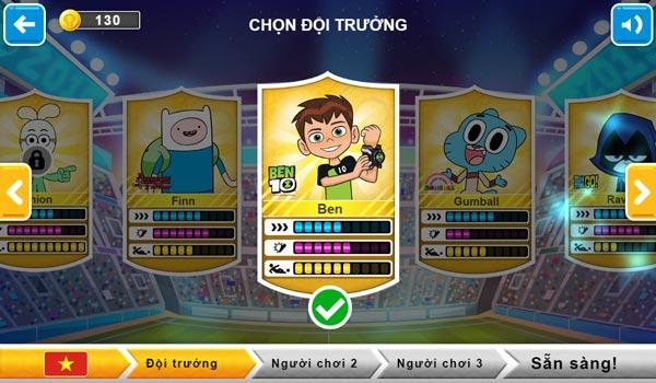 Chọn nhân vật cho đội bóng, gồm 3 cầu thủ