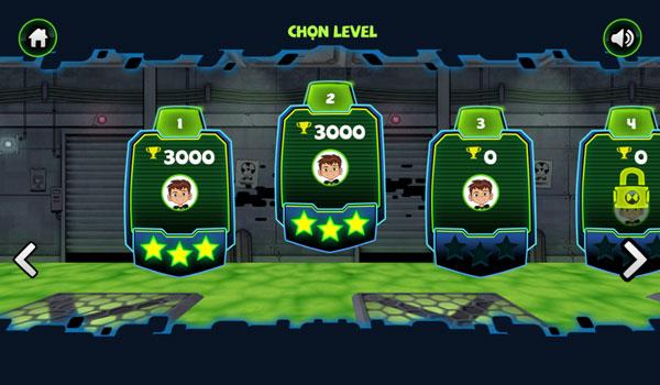 Chọn level thử thách Ben 10