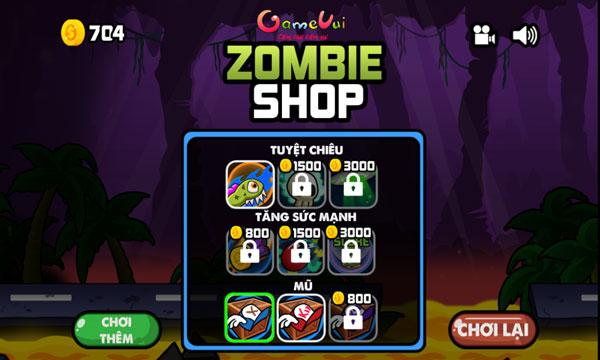 Mua vật phẩm trong Shop cửa hàng zombie