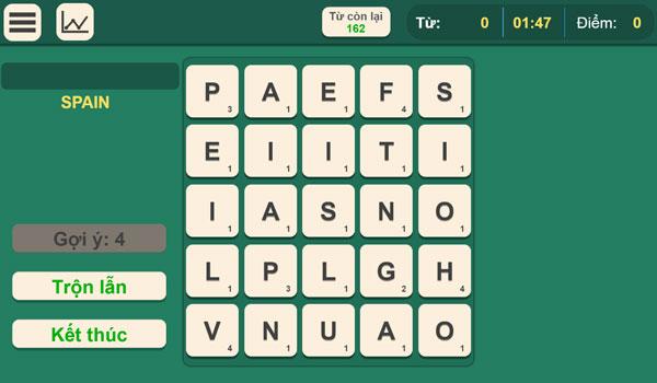 Màn hình chơi game Tìm chữ tiếng Anh