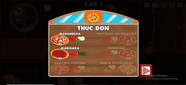 Thực đơn các loại pizza