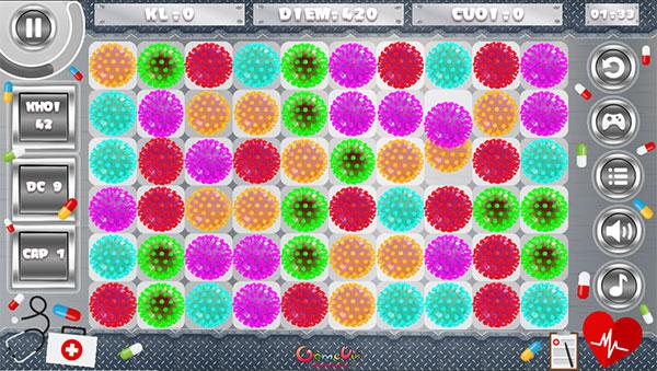 Xếp 3 con virus cùng màu với nhau