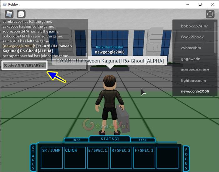 Nhập mã code Ro Ghoul vào ô chat Roblox